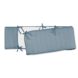 Playpen bumper Pady quilted jersey + jersey 100x100x28cm OSAKA Mineral blue